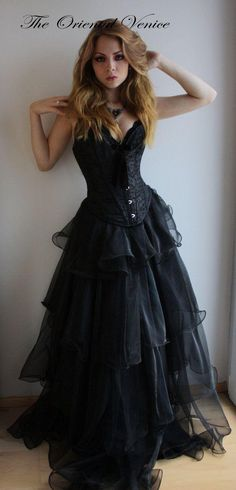 Black Gothic Corset Prom Dresses 2016 Sweetheart Organza Ruched Gothic Evening Party Gowns Abendkleider Vestidos de Festa Longo New Arrival