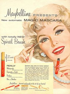 Image discovered by Vintage. Find images and videos about vintage, mascara and Maybelline on We Heart It - the app to get lost in what you love. Images Vintage, Vintage Design, Vintage Prints, Vintage Posters, Old Advertisements, Retro Advertising, Retro Ads, Makeup Advertisement, Vintage Makeup Ads