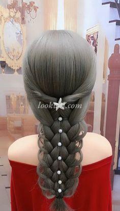 braid hairstyle idea and High crown ponytail - Frisuren Ideen Straight Hairstyles, Braided Hairstyles, Cool Hairstyles, Hairstyle Braid, Wedding Hairstyles, Girl Hair Dos, Perfect Ponytail, Hair Upstyles, Rope Braid
