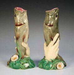 Lovely Minton majolica vases...♥