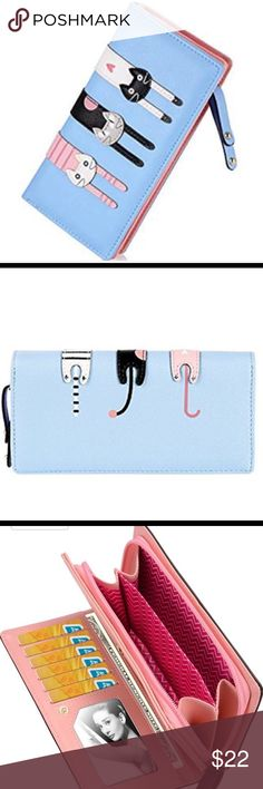 "Two sided kitty wallet PU Leather  Size approx 7.5in(L)x1.2""(W)x3.5""(H) Cute trio of kitties back side kitty tushies  Pink/Black,Navy Blue also available in my closet Bags Wallets"