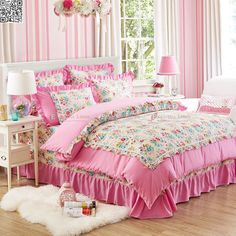Pink Floral Single Double Queen Size Bed Set Pillowcase Quilt Duvet Cover New #WongsBedding