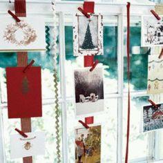 Easy Christmas Decorations: Wall of Christmas Cards Christmas Card Display, Christmas Ornament Crafts, Handmade Christmas Gifts, Holiday Crafts, Holiday Fun, Christmas Cards, Christmas Decorations, Holiday Ideas, Holiday Decorating