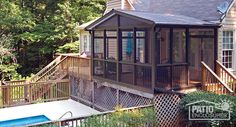 Screen room with bronze aluminum frame and gable roof. #sunroom #homeimprovement