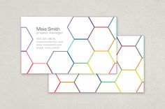 Geometric Business Card Template - Clean and organized - this design was inspired by the complex, yet highly efficient structure of the honeycomb. The spectrum of colors bound in neat, repetitive shapes conveys a feeling of diversity bound and made powerful and productive. Your impression will be one of positive effectiveness.