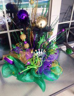 Mardi gras centerpiece Krewe decor by PrettyMyDoorandMore on Etsy, $130.00
