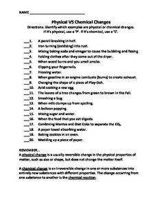 Printables Physical And Chemical Properties Of Matter Worksheet student chemical change and google on pinterest a short worksheet for students to practice their understanding in the differences between physical chemical