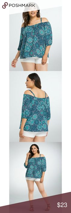 """Torrid Size 3 Medallion Print Cold Shoulder Top Torrid Size 3 Medallion Print Cold Shoulder Top. Like new condition, no signs of wear. Navy challis gets kaleidoscopic with a gorgeous turquoise medallion print. Cold shoulder cutouts give you an excuse to show off your tan; the hook-eye closure placket is a sexy addition. Very flowy and flattering! Festival ready ✅  Measures approx 30"""" from shoulder. 100% polyester.  Complete the look! I have these shorts available in a size 22 as well 💕…"""
