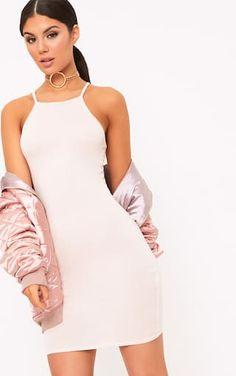 Theia Nude Jersey High Neck Bodycon Dress