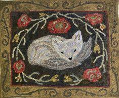 Safe Haven . Pattern By Northwest Folk Design . Hooked By Marijo Taylor . Folk Embroidery, Hand Embroidery Designs, Cross Stitch Embroidery, Embroidery Patterns, Indian Embroidery, Rug Hooking Patterns, Rug Patterns, Hand Hooked Rugs, Weaving Art