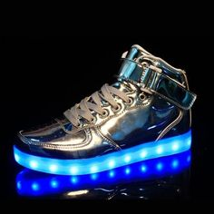Women's High Cut Silver LED Light Up Shoes For Adults