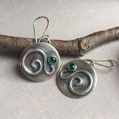 Oxidized Sterling Silver earrings with Green Onyx.
