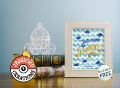 Finding Nemo Watercolor Print with Golden Decal Accent - Just Keep Swimming, Dory, Disney Prints, Princesses, Home Decor, Nursery
