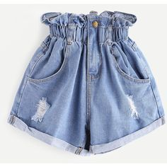Shirred Frill Trim Ripped Rolled Hem Denim Shorts ($18) ❤ liked on Polyvore featuring shorts, ripped shorts, destroyed shorts, frilly shorts, jean shorts and distressed jean shorts
