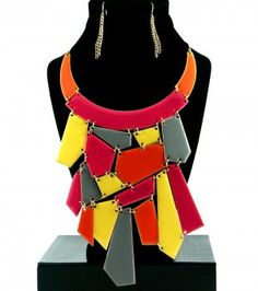Geometric Bib Necklace & Earrings Set Abstract Mosaic Neon Colors. Amazing! From @modtoast  $31.99