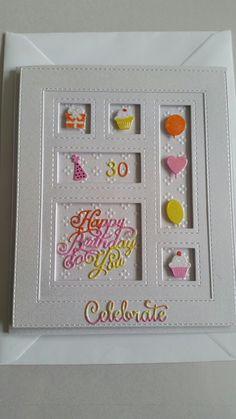 Sue Wilson birthday shadow box card