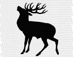 Wild Animal Deer Profile Silhouette Antique Vintage Clip Art Illustration Digital Instant Download High Quality Printable Graphic Img1894