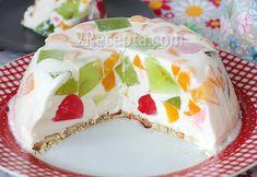 Желейный торт «Битое стекло» Jello Recipes, Recipies, Yams, I Foods, Vanilla Cake, Deserts, Food And Drink, Pudding, Yummy Food