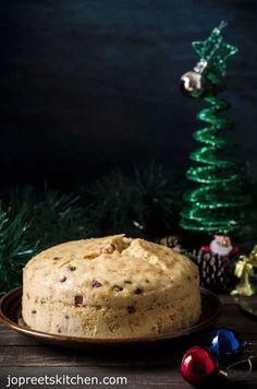 Eggless Mawa & Tutti Frutti Sponge Cake / Cardamom flavored Steamed Milk Cake - Christmas Recipes Eggless Baking, Savoury Baking, Best Dessert Recipes, Fun Desserts, Cupcake Recipes, Delicious Desserts, Indian Desserts, Indian Sweets