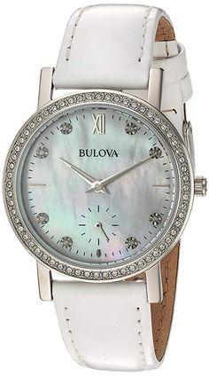Bulova Womens 96L245 Swarovski Crystal White Strap Watch ViralTrendsLab A Girls Best Friend