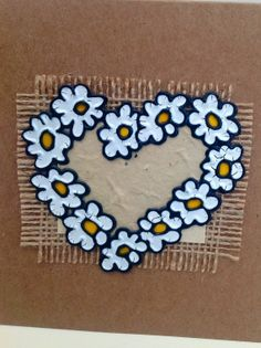 handmade glass painted daisy hearts card. This by LoveheArtcards, $4.50