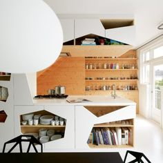 geometric cut out cabinets