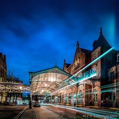 Chiltern Railway's elegant late victorian Marylebone Station and canopy - light trails courtesy of a London Transport Bus