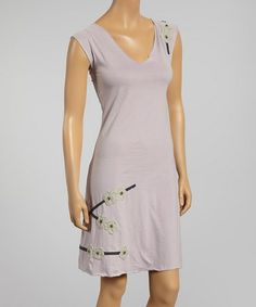 Nirvana Cherry Blossom V-Neck Organic Dress #zulily #zulilyfinds