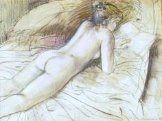 William Boissevain - Nude on bed, reading, 1995