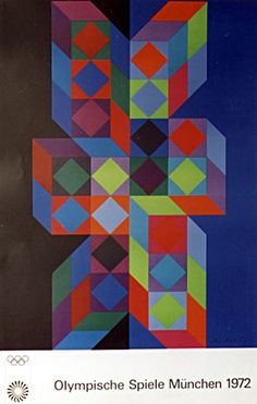 Victor Vasarely. 1972 Munich Olympics Cultural Posters. This is currently on display in the Library. (Image from Commune.)