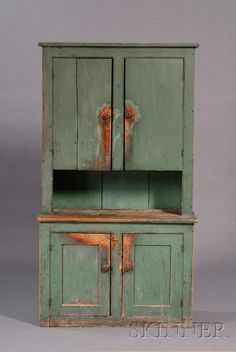 Blue-green-painted Pine Step-back Cupboard, America
