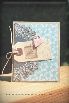 art scrap & more: CARDS: 1 Tag + 1/2 Doily + 1 embellie