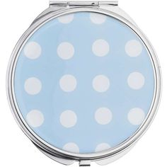 Miss Selfridge Polka Dot Compact Mirror (32.525 COP) ❤ liked on Polyvore featuring beauty products, beauty accessories, blue and miss selfridge