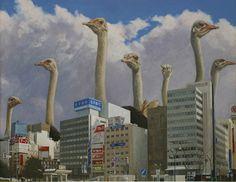 Imaginative Illustrations of Giant Animals Invading Cities by Shuichi Nakano Surrealism Painting, Pop Surrealism, Photomontage, Paradise Painting, City Backdrop, Giant Animals, Street Art, Graffiti, Lowbrow Art