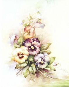 Floral Vintage, Art Vintage, Vintage Flowers, Vintage Images, Arte Floral, Watercolor Flowers, Watercolor Art, Tole Painting Patterns, Flower Bird