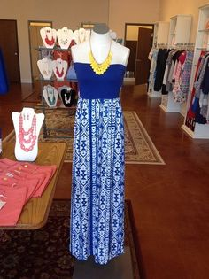 Flirty Maxi and jewelry at Gigi's Boutique!