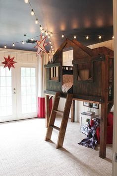 Treehouse/Loft Style Bed: Vintage Summer Camp/Americana Kids Room, Little Boys Room Red white and blue Blue ceiling Globe Lights White Draperies White Walls Special Wall Treatments