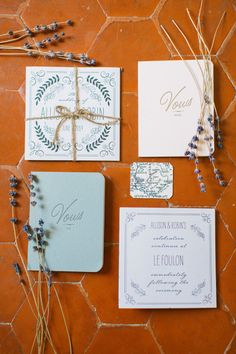 Wedding invitations: http://www.stylemepretty.com/little-black-book-blog/2014/10/06/charming-south-of-france-wedding-at-le-foulon/ | Photography: Anna Roussos - http://www.annaroussos.com/