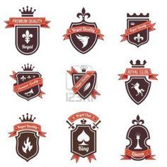 vintage logo - crest shapes