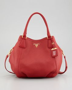 My newest MUST HAVE!  Shit...  Vitello Daino Tote Bag, Rosso Red by Prada at Neiman Marcus.