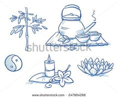 Icon item set wellness, spa, meditation, with lotus flower, candle, tea, bamboo, yin yang, leafs and flowers. Hand drawn doodle vector illustration.