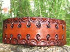 Leather Tooled Cuff Bracelet - adult kids women girl - snap - Inspiration