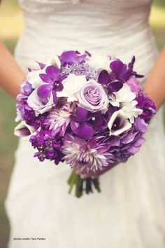 purple and white wedding bouquets | Bouquets | Pinterest | White ...