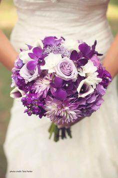 Purple & White Wedding Bouquet by Julie Liles: 'Picasso' Mini Callas, Purple Dalias, Purple Hydrangeas, Purple Stock, Purple Dendrobium Orchid and Lavender Allium with White Roses. www.julieliles.com