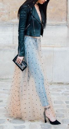 sheer maxi over jeans. leather jacket. street chic.