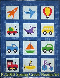 Toys That Travel Transportation Quilt Pattern (advanced beginner, baby) Colchas Quilting, Machine Quilting Patterns, Quilting Projects, Quilting Designs, Baby Boy Quilt Patterns, Applique Quilt Patterns, Baby Boy Quilts, Kid Quilts, Scrappy Quilts