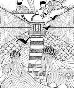 Hand drawn artistically ethnic ornamental patterned Lighthouse with clouds in doodle, zentangle tribal style for adult coloring book, pages, tattoo, t-shirt or prints. Sea vector illustration: compre este vector en Shutterstock y encuentre otras imágenes. Doodle Art Drawing, Zentangle Drawings, Doodles Zentangles, Art Drawings, Tangle Doodle, Hand Doodles, Zen Doodle, Manga Drawing, Doodle Patterns