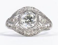 Art Deco Diamond Platinum Lace Ring by hattie