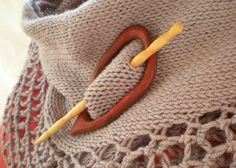 Shawl Pin Handcarved Wood Padauk and Birch organic shape on Etsy, $28.00