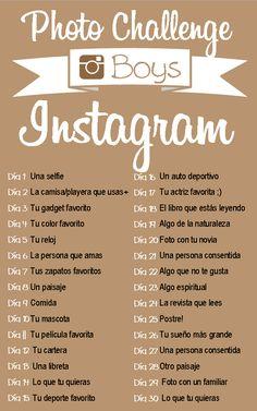 #Reto #Instagram #boys 30 días ;) Vïvelo y comparte en #pinterest ¡tambien! ~Chaplin Social Media   Agencia de Redes Sociales, México.